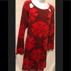 Aryeh Dresses - ARYEH Red Black Knit Sweater Midi Geometric Floral